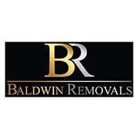 Baldwin Removals Logo Gold and Silver Characters on a black background